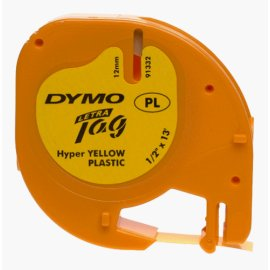 "DYMO Hyper Yellow Plastic Tape w Black Printing, LetraTag only, 1/2"" x 13'"