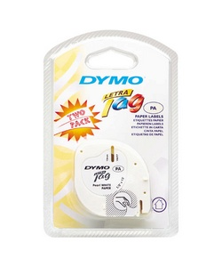 Dymo 10697 1/2in X 13ft Letratag White Paper Tape