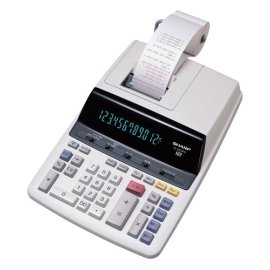 Sharp EL-2630PIII Deluxe Heavy Duty Color Printing Calculator with Clock and Calendar - White