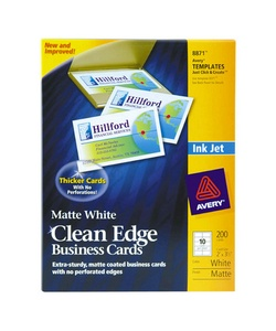 Avery cleanedge white linen business cards for inkjet printers 8873 35x2 200 cards gosale for Avery 8873
