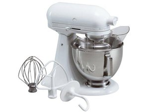 KitchenAid KSM150PSWW Artisan 5-Quart Stand Mixer (All White-on-White)