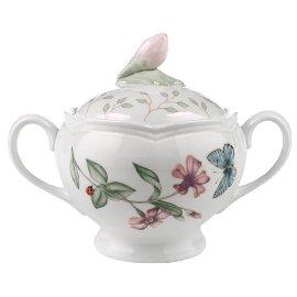Lenox Butterfly Meadow Fine Porcelain Sugar Bowl with Lid