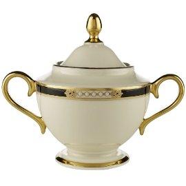 Lenox Hancock Gold-Banded Fine China Sugar Bowl with Lid
