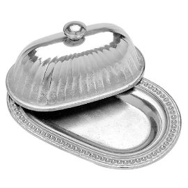 Wilton Armetale Flutes and Pearls Butter Dish with Lid