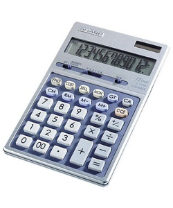 Sharp's Semi-Desk Executive Metal Top Design 12-Digit Calculator