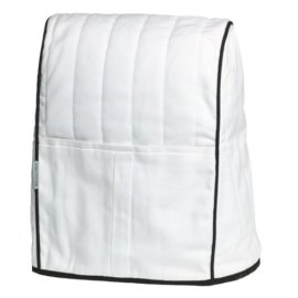 KitchenAid KMCC1WH Stand Mixer Cloth Cover, White with Black Trim