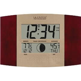 La Crosse Technology WS-8117U-C Digital Wall Clock with Remote Temperature and Moon Phase