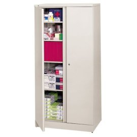 "HON(R) Easy-To-Assemble Adjustable-Shelf Storage Cabinet, 2 Shelves, 42""H x 36""W x 18""D, Putty"