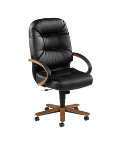 "HON(R) Wood ""Pillow-Soft"" High-Back Executive Chair, Mahogany Frame, Black Leather"