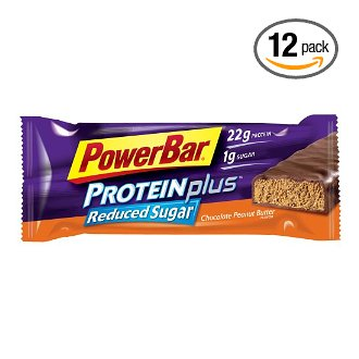 PowerBar ProteinPlus with Reduced Sugar, Chocolate Peanut Butter (Box of 12)