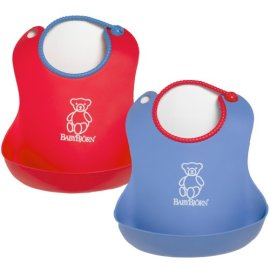 Baby Bjorn Soft Bibs - Set of 2 - Red and Blue