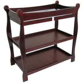 Sleigh Baby Changing Table with Cherry Finish