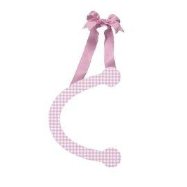 Pink Gingham Hanging Letter - C