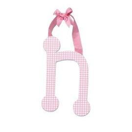 Pink Gingham Hanging Letter - N