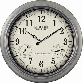 18 Diameter Radio Controlled Outdoor Metal Wall Clock with Analog Hygrometer and Thermometer