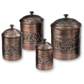 Antique Embossed Copper Canisters Set Of 4