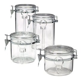 Acrylic 4-pc. Canister Set with Spoons