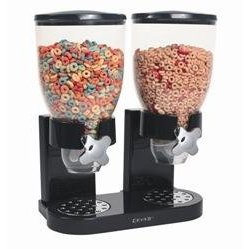 Double Dry Food Dispenser - Black and Chrome