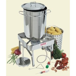 Bayou Classic 32-qt. Stainless Steel Turkey Fryer with Outdoor Gas Burner