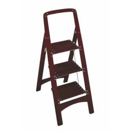 ROCKFORD 3 STEP WOOD STOOL MAHOGANY