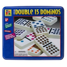 Pavilion Double Fifteen Color Dot Dominoes in Color Collectors Tin
