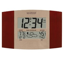 La Crosse Technology WS-8157U-CH Atomic Clock with Outdoor Temperature and Weather Forecast - Cherry/black