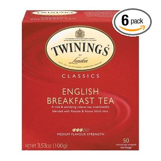 Twinings English Breakfast Tea (6 Boxes, 50 Tea Bags each, 300 Bags Total)