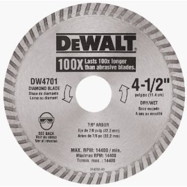 DEWALT DW4701 4-1/2 Continuous Rim Industrial Dry Cut Diamond Blade