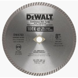 DEWALT DW4703 8 Continuous Rim Industrial Dry Cut Diamond Blade