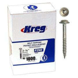 Kreg SML-F125-1000 Pocket Hole Screws - 1-1/4 #7 Fine Washer-Head (1000-Count)