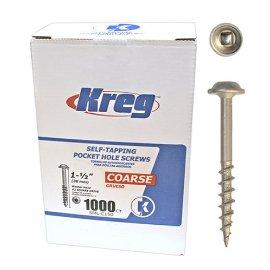 Kreg SML-C150-1000 Pocket Hole Screws 1-1/2 #8 Coarse Washer-Head 1000ct