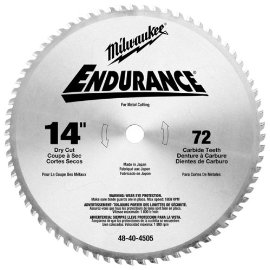 Milwaukee 48-40-4505 Circular Saw Blade 14 in. 72 Tooth Dry Cut Carbide Tipped