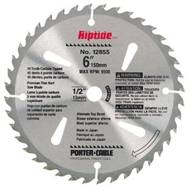 Porter-Cable 12855 Riptide Saw Blade: 6, 40-Tooth, Thin Kerf