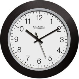 La Crosse Technology WT-3102B 10-Inch Atomic Analog Clock - Black/silver