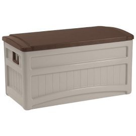 Suncast DB8000 Deck Box with Wheels - Taupe - Green