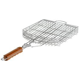 Mr Bar B Q 06041P Oversized Silver Non Stick basket - silver and redwood