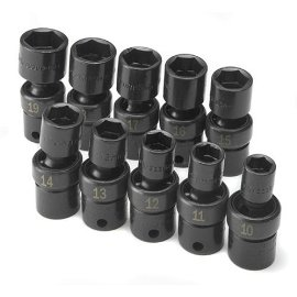 Sk 33351 10 Piece 3/8 Drive, 6 Point Swivel Metric High Visibility Impact Socket Set