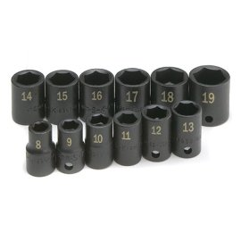 Sk 4062 12 Piece 3/8 Drive 6 Point High Visibility Standard Metric Impact Socket Set