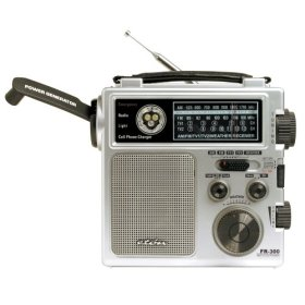 Eton FR300 Emergency Radio with AM/FM Tuner, VHF TV Tuner, and NOAA Weather Service - Metallic Silver