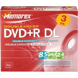 Memorex 2.4x 8.5 GB Double Layer DVD+R Pack
