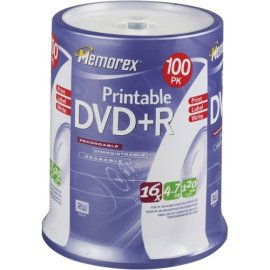 Memorex DVD+R 16x 4.7GB 100 Pack Spindle Printable