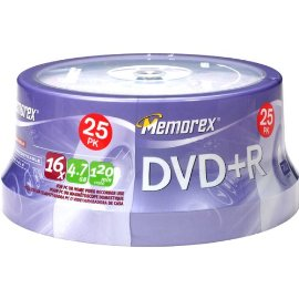 Memorex DVD+R 16x 4.7GB 25 Pack Spindle - Silver