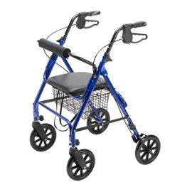 Medline Folding Rollator Walker with Folding Wheels, Blue