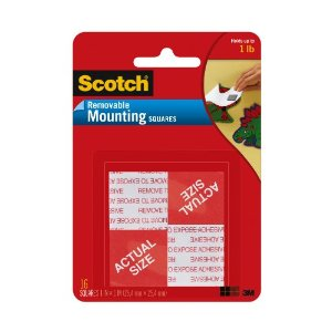 Scotch Mounting Squares, Removeable, 1-Inch Square, Twelve Packs of 16 Squares