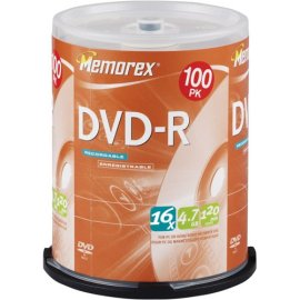 Memorex 100PK DVD-R 16X 4.7GB SPINDLE ( 32025641 )