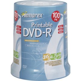 Memorex DVD-R 16x 4.7GB 100 Pack Spindle Printable
