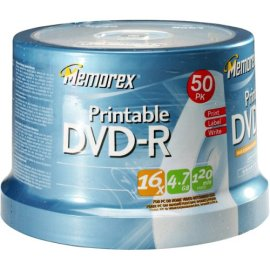 MEMOREX 50 Spindle Pack of Printable DVD-R
