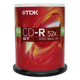 TDK Systems 100PK CDR 80MIN 700MB-52X BRANDED SPINDLE ( CD-R80CB100T )