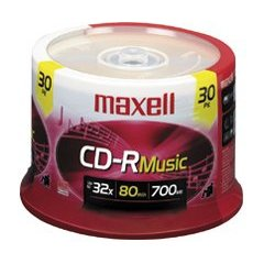 Maxell Music 80x / 700MB CD-R Media for Audio, 30 Pack Spindle