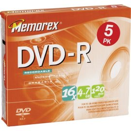 Memorex 5PK DVD-R 4.7 GB SLIM ( 32025655 )